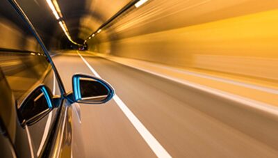 Car staying within a lane in a tunnel
